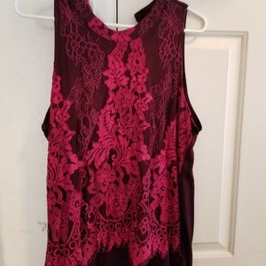 Burgundy and hot pink lace